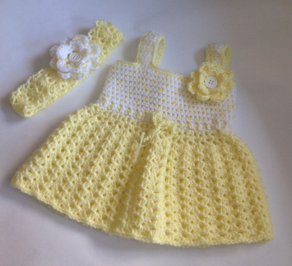 Crochet Pattern Baby Girl Dress : Crochet baby girl dress with Headband PDF Pattern tutorial