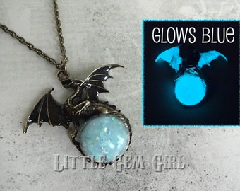Glowing Dragon Necklace - Victorian Gothic Dragon w/ Glow in the Dark Orb Brass or Silver - Full Moon Pendant - Steampunk Dragon Magic Orb