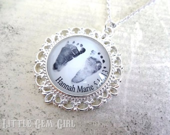 Baby Footprint Necklace or Handprint Charm -Mothers Day Foot Print Jewelry Silver Victorian Round Pendant for Mom Mother Mimi Nana Grandma
