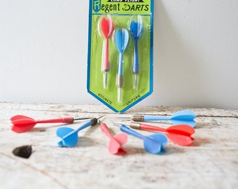 Vintage Darts - Set of 9 Blue and Red Darts Retro Darts Gaming Dartboard Regent Long Flight