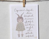 Capricorn card Astrology card Zodiac card Astrological sign card with envelope