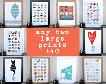Any two large prints for forty pounds - all Becka Griffin Illustration large sized prints - including Alphabets and Liverpool