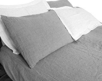 Pillow sham Taupe Gray color pure Linen Flax - Washed Softened Lightweight - Standard Queen King Euro - All size