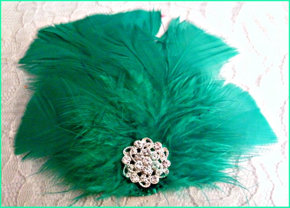 Teal Green Feather Fascinator
