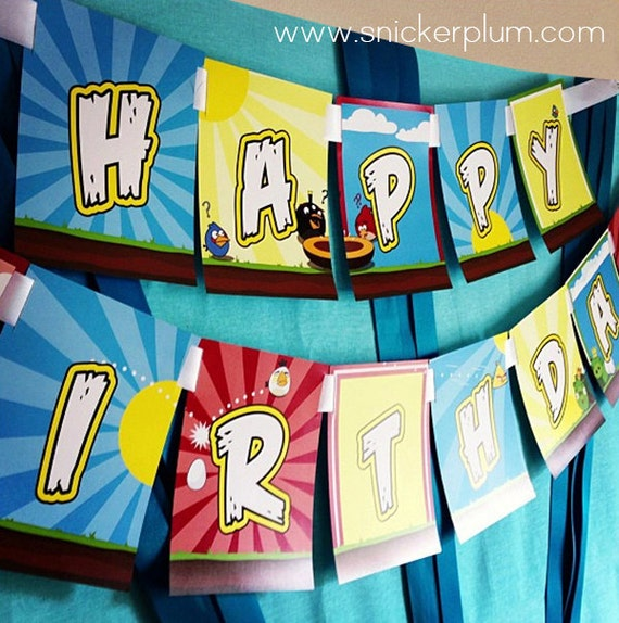 Happy Birthday Angry Birds Banner Printed And Shipped
