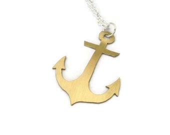 Brass nautical anchor necklace
