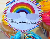Rainbow Love Birthday Party Baby Shower Cupcake Printable Cupcake Toppers