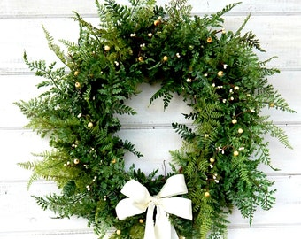 Wedding Wreath-Winter Wedding-Spring Wreaths-FERN Wreath-Artificial Wreath-Garden Wedding-Wreaths-Home Decor-Outdoor Wreath-Scented Wreaths