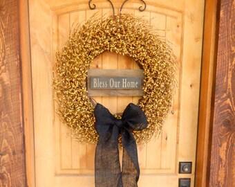 Summer Wreath-Fall Wreath-BLESS OUR HOME-Large Yellow Wreath-Door Signs-Rustic Decor-Autumn Decor-Fall Wreaths-Housewarming Gift