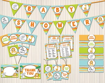 Elephant baby shower decorations package instant download diy for Baby shower decoration packages