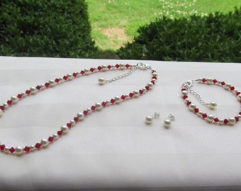 Wedding Jewelry Set Dark Red Crystals and Ivory Pearls Bridesmaid Flower Girl Jewelry Set