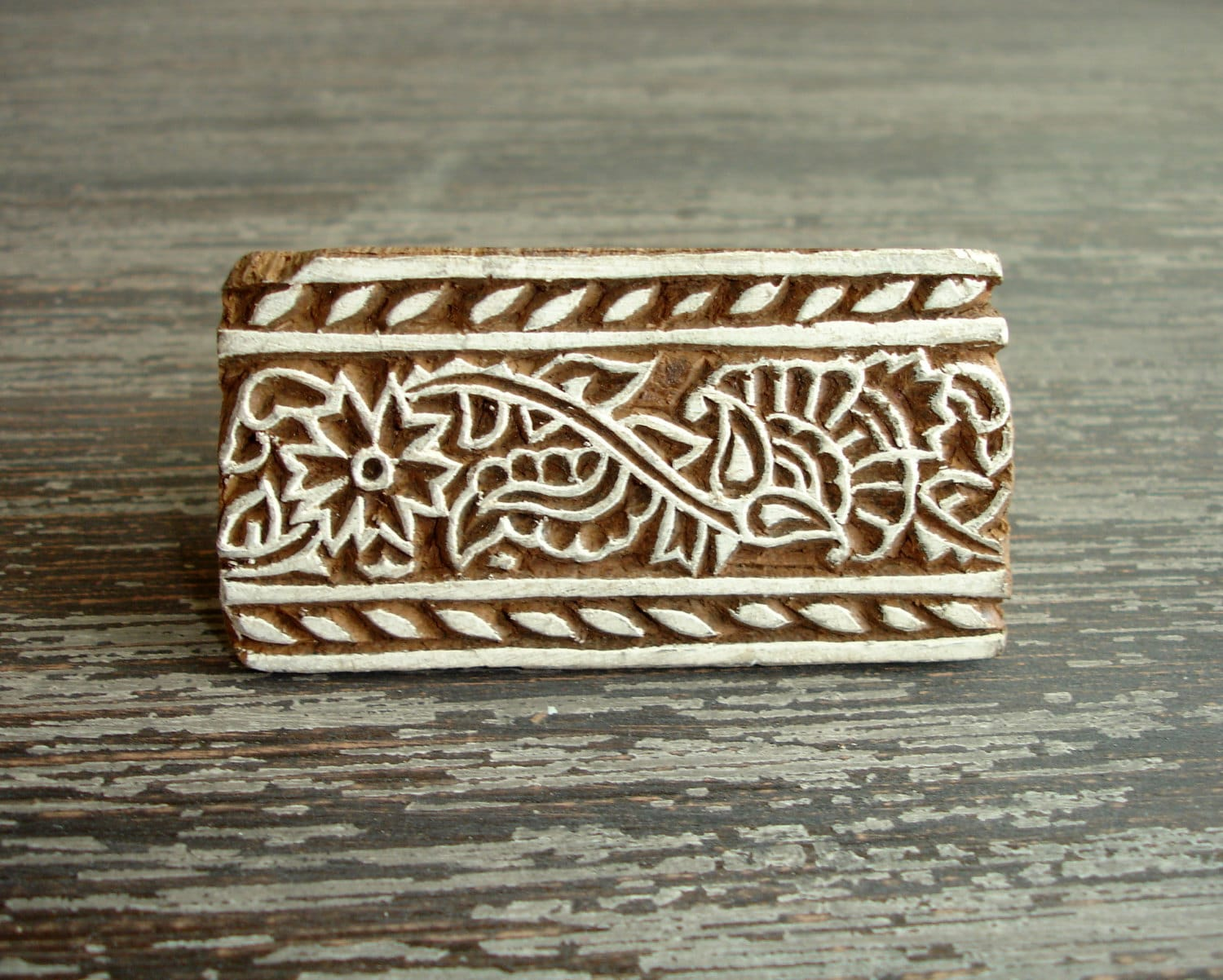 Flower stamp hand carved wood indian border