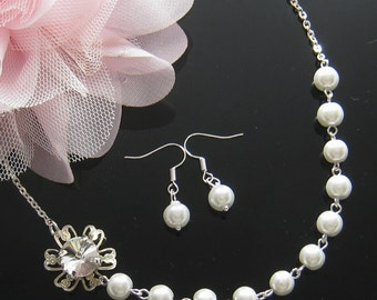 Rhinestone pearl necklace and earring SET, bridesmaids, bridal necklace, wedding jewelry - W024S