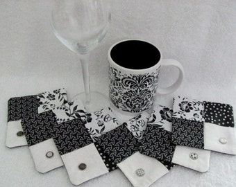 Coasters Coffee and/or Wine with 6 Different Decorative ID Rivets Black & White Contemporary Coasters Wine Set Gift Idea - 6 Fabric Coasters