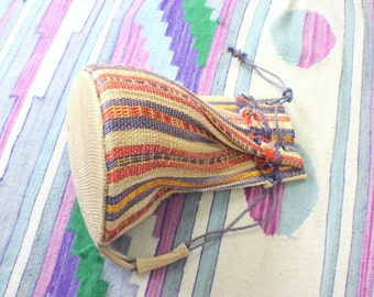 Striped Ethnic Backpack / Vintage Woven Earthy Festival Bag