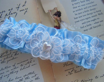 White Flower Lace and Blue Satin Toss Garter