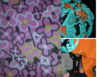 Precious Car-N-Go Poncho - Car Seat Poncho - Custom Double Layer Fleece - Flowers
