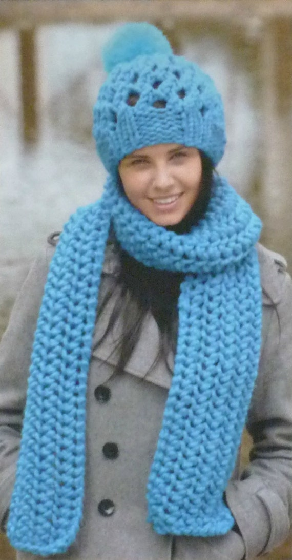 Knitting Pattern For Ladies Hat And Scarf : Womens Knitting Pattern W5752 Ladies Easy Knit Scarf, Hats and Cowl Knitting ...