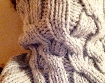 ENTWINED, Neck Warmer, Cowl, Chunky, Wool Blend, Cable Knit, Silver Grey