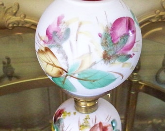 RARE Fenton Peach Moss Rose  Peach Blow Oil Lamp Fenton For LG Wright Pink and Yellow Floral Lamp