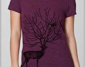 Women's T Shirt Deer Birds Nature T shirt Womens Clothing American Apparel Screen Print Shirt S, M, L, XL 8 COLORS