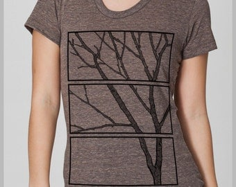 Women's Tree Print T Shirt wood block Tee Shirt  American Apparel forest gift outfit