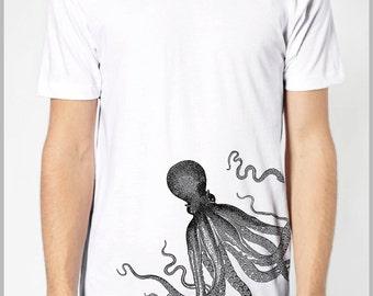 Octopus T Shirt  Men's Aquatic Sea Animal Tshirt American Apparel XS, S, M, L, XL 9 COLORS