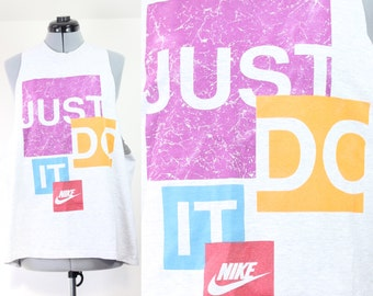 Vintage Retro Nike JUST DO IT Tank Top Grey