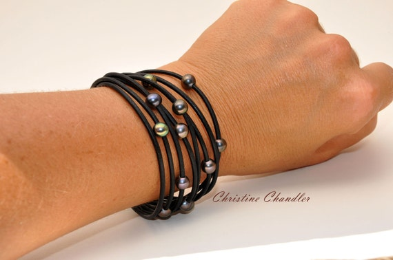 Pearl and Leather Multi-Strand Bracelet - Black Peacock Pearl and Leather - Pearl and Leather Jewelry Collection