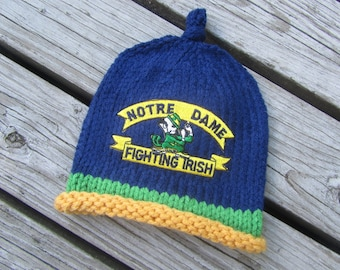 NOTRE DAME Hand Knit Baby Hat - Fighting Irish Baby Hat - Notre Dame Hand Knitted Baby Hat