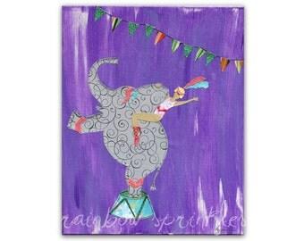 Children's Wall Art Print 8x10- circus, elephant, dancer, water for elephants, Kids Art, Kids Room, Nursery Art, Nursery Wall Decor