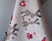 Linen Dish Towels Tea Towels Rudolf Reindeer Christmas Holiday - Tea Towels set of 2