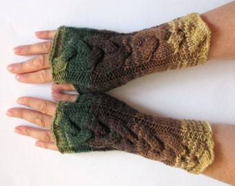 Fingerless Gloves Mittens wrist warmers Green Brown Beige
