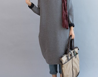 Gray Cotton Oversize Loose Long dress