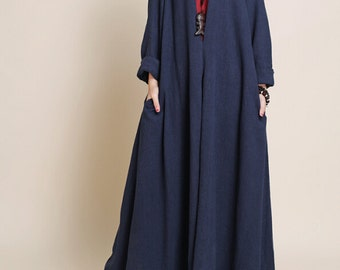 Spring and autumn wear Oversized loose maxi dress Cotton and linen long sleeved dress long robe