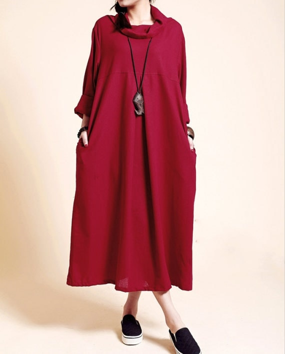 Linen loose fitting long dress women long sleeved robe gown