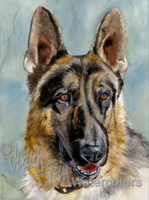 "German Shepherd Dog, AKC Herding, Police, Rescue, Pet Portrait Dog Art Watercolor Painting Print, Wall Art, Home Decor, ""Brains and Brawn"""