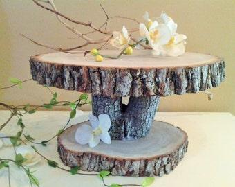 Rustic wedding cake stand - Wood Tree slice - Wood cake stand - Wedding decoration - Rustic cupcake stand