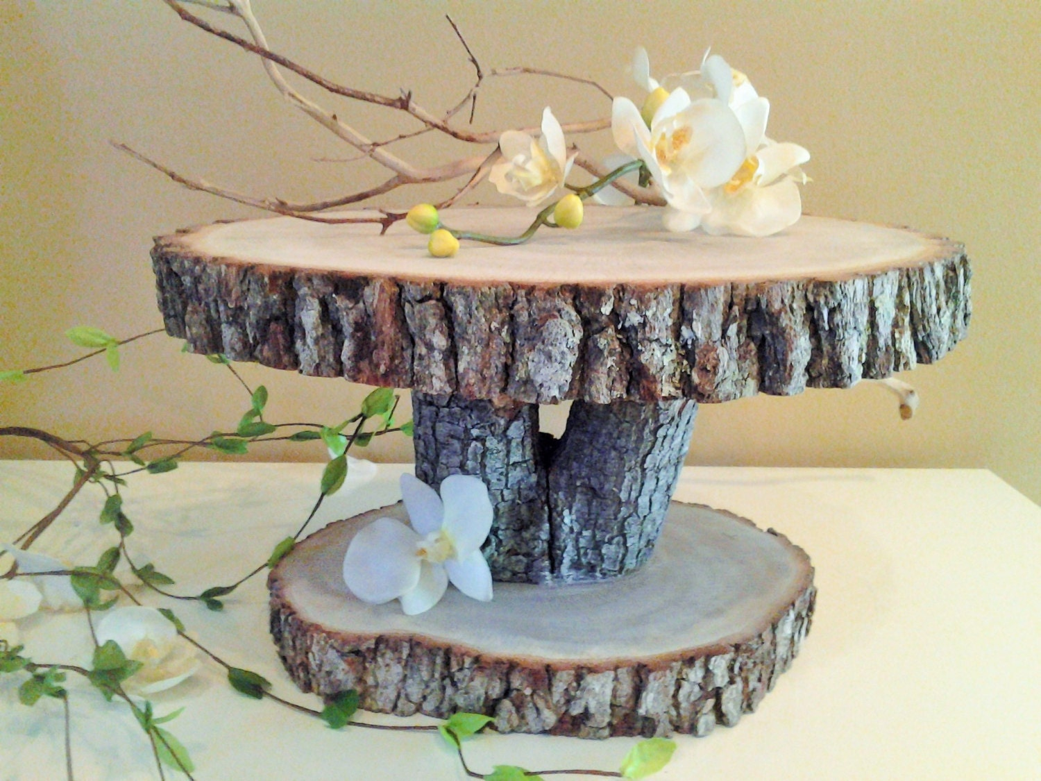 rustic wedding cake stand wood tree slice wood by jtlcreations. Black Bedroom Furniture Sets. Home Design Ideas
