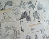 Set of 20 Vintage Illustrations from Winnie the Pooh Cut Out Tigger Rabbit Pigglet Eeyore Christopher