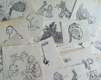 Set of 20 Vintage Cut Out Illustrations from Winnie the Pooh - Tigger Rabbit Pigglet Eeyore Christopher