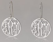 Mini Monogram Earrings - 925 Sterling Silver Circle Monogram Earrings