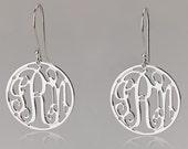 Mini Monogram Earrings - 925 Sterling Silver Circle Monogram Earrings