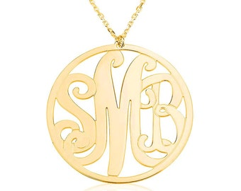 """Monogram Necklace 1.25"""" - 18k Gold Plated Name Necklace"""