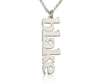Vertical Name Necklace Personalized Name Necklace -925 Sterling Silver Choose any name to personalize