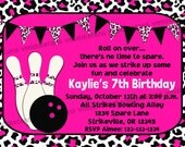 Pink Leopard Bowling Invitation Print Your Own 5x7 or 4x6