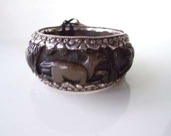 Reserved Designer Masha Archer Chunky Bangle bracelet Unique artisan Resin Silver  animals Birds Foliage 942usd, Sherpa Srs.