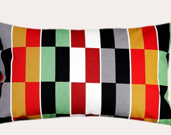 "Decorative Pillow Case, Multicolored Cotton Geometric patterned fabric Lumbar pillow case, fits 12"" x 20"" insert, Home Decor"