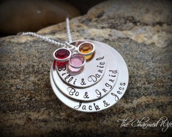 Mother's Day Gift ideas - Hand Stamped Necklace - Personalized Hand stamped Jewelry - Kid Name Necklace - Birthstones - The Charmed Wife