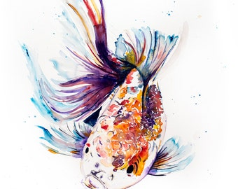 Koi painting, Print of Original Watercolour and Ink  print, fish art, koi art, wall art